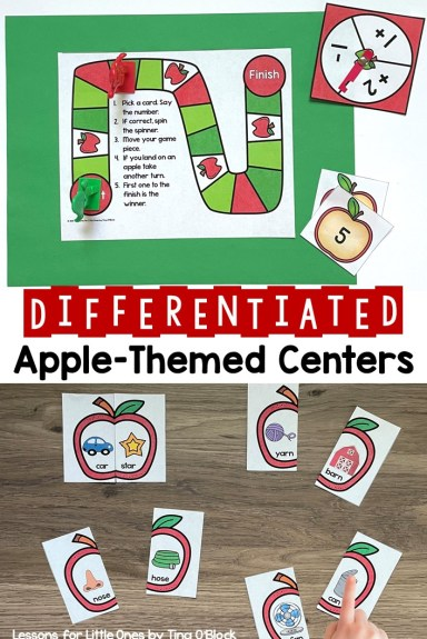 Differentiated Apple-Themed Math Literacy Science Centers