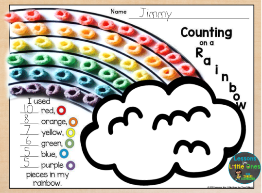 counting on a rainbow colors page