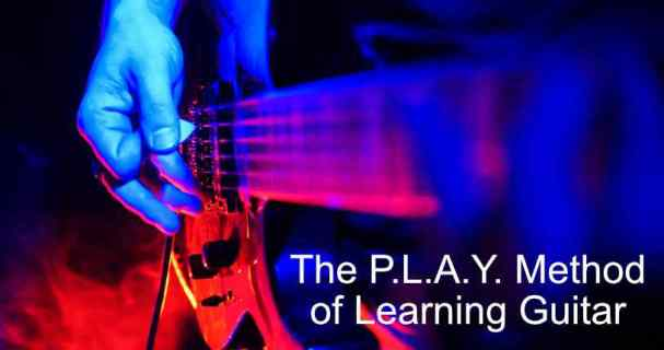 The P.L.A.Y. Method of Learning Guitar illustrated on an electric guitar