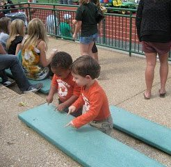 coaches kids in the football stands