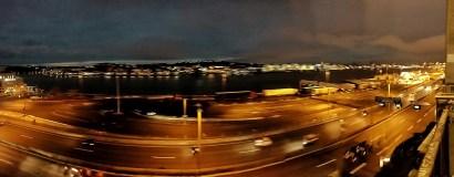 Blurry Gothenburg highway.