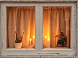 Jul lights in the window.