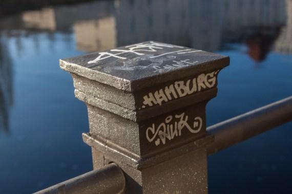 Mini-street art along Spree river in Berlin, Germany