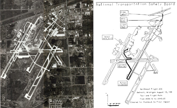 Aerial photo and NTSB diagram of Detroit-Metro airport