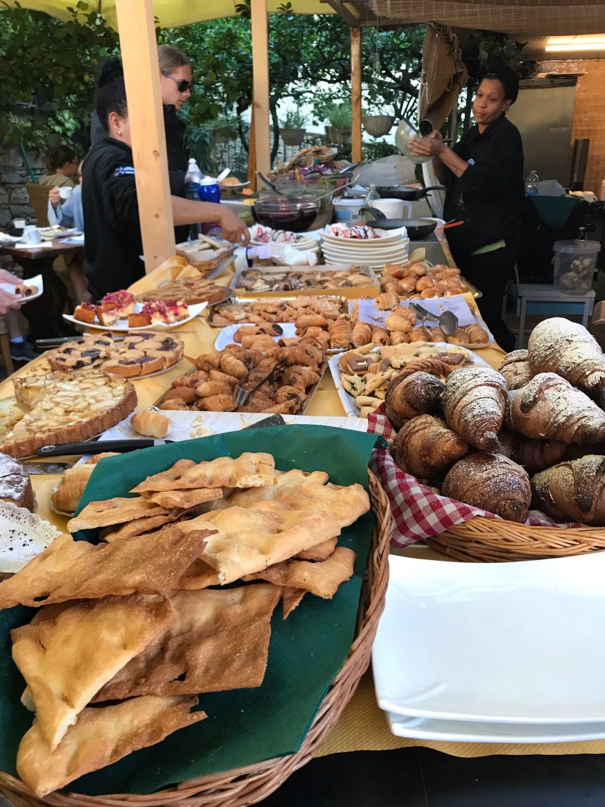 breakfast at hotel marina in Cinque Terre