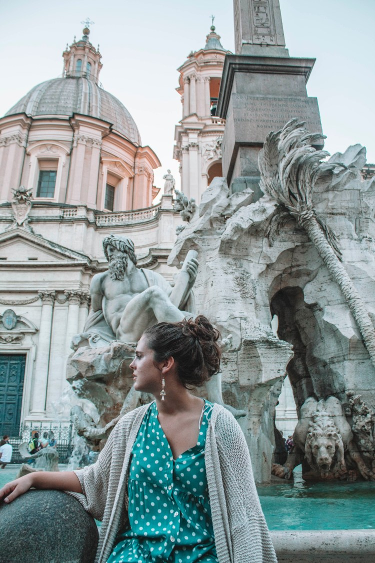 The Fountain of the Four Rivers Fountain on Piazza Navona- Rome Italy