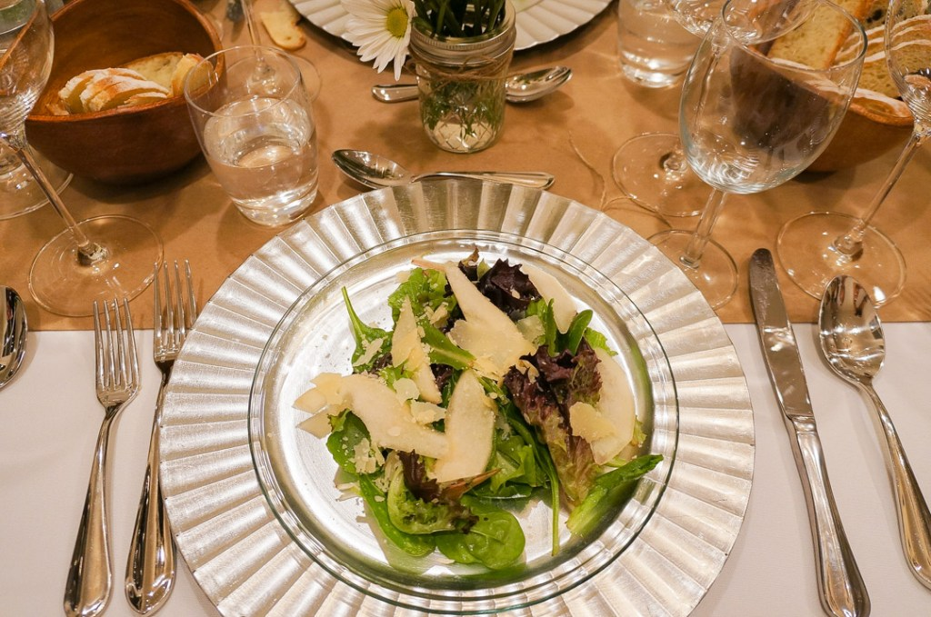 misto salad with pear and shaved parmigiana