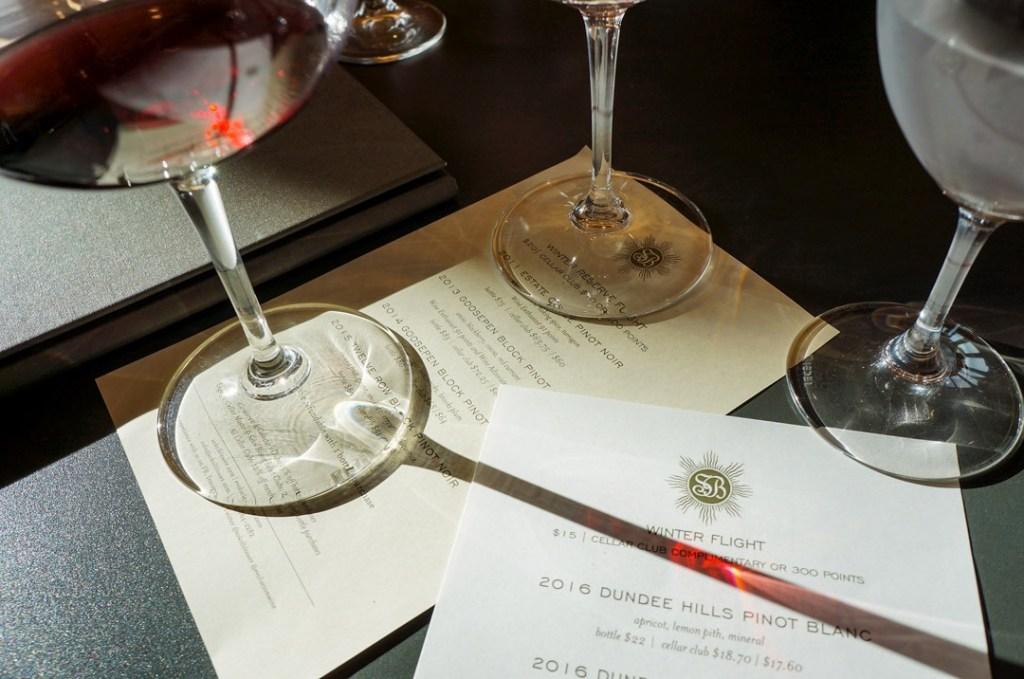 wine tasting flight at sokol blosser
