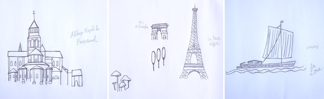 Sketches of Loire Valley and France landmarks for Wedding Invitations