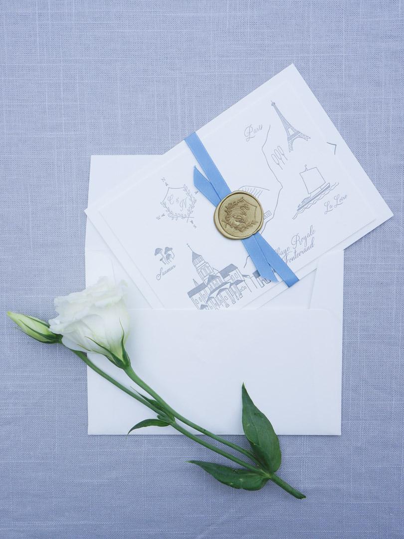 romantic french destination wedding invitations