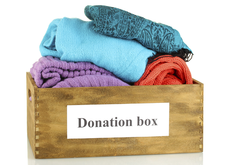 Donation box with clothing