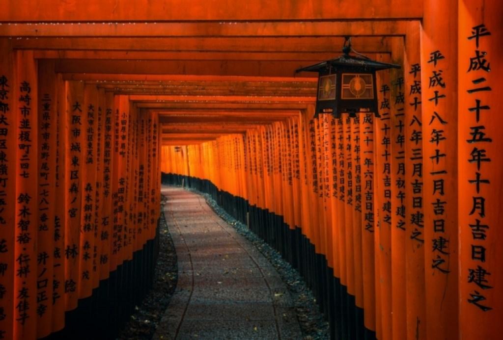 Lantern and torii gates at Fushimi Inari