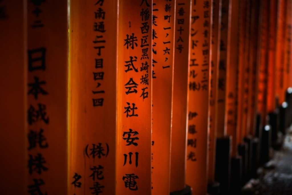 Japanese characters on torii gate