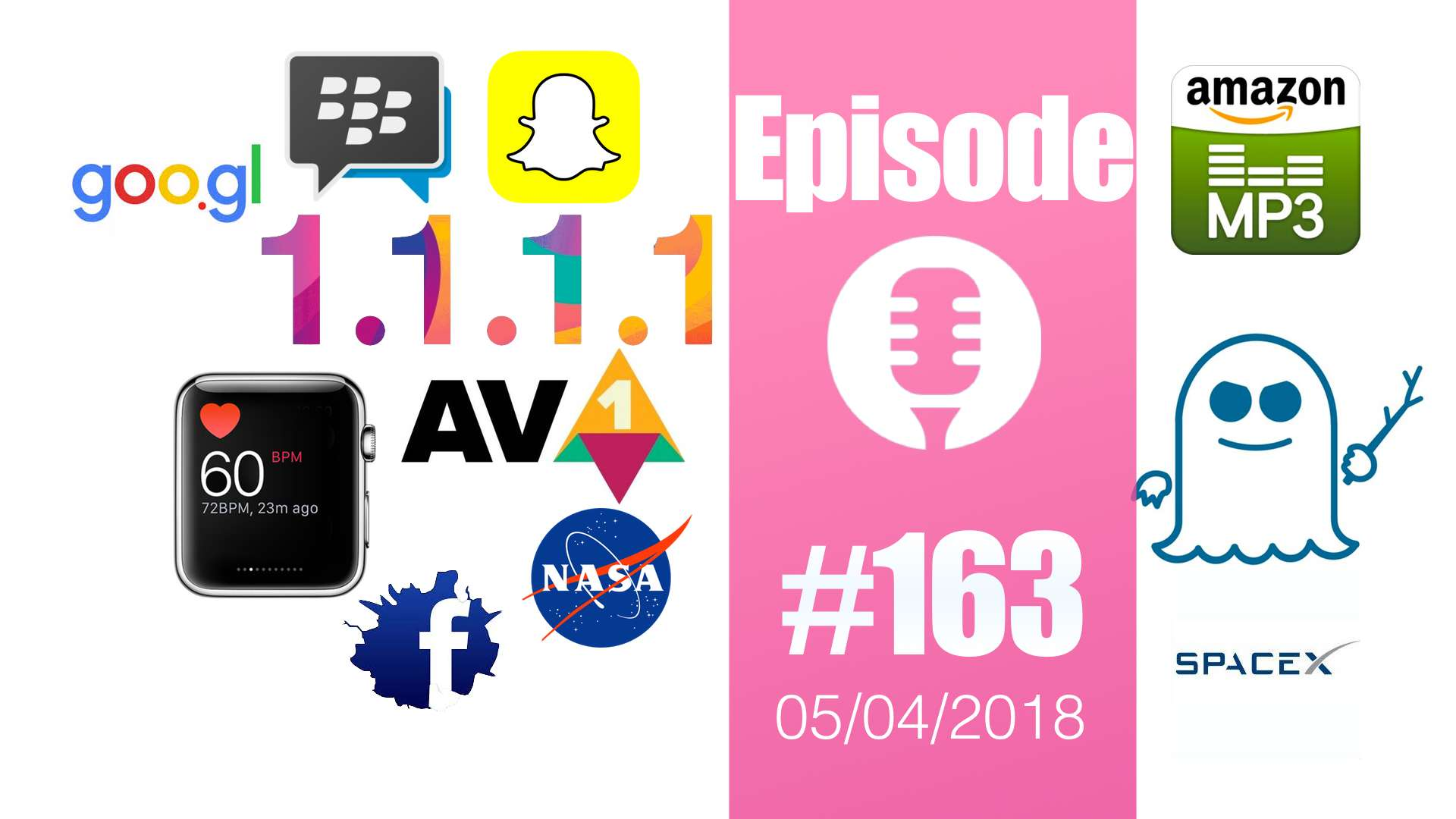 #163: Apple Watch, codec AV1, DNS Cloudflare, Spectre, SpaceX, Snapchat , Blackberry, Amazon, Goo.gl,…