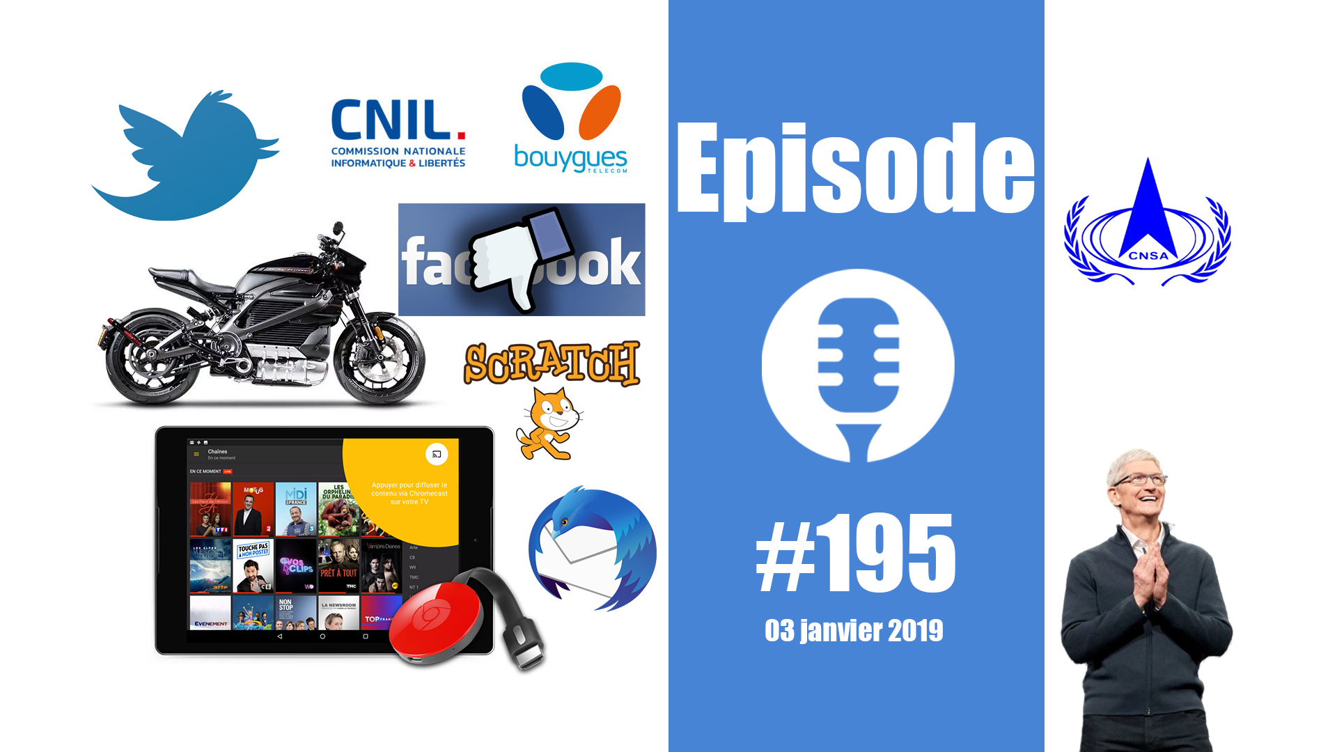 #195: Une Harley au CES, des chinois sur la Lune, la confiance perdue de Facebook, Scratch 3.0, un mauvais Noël pour Apple,…