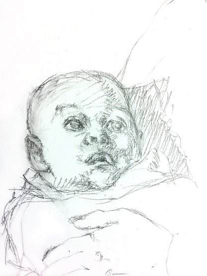 Mary and Child Painting Sketch of the Baby