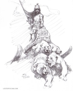 Sketch of a Frank Frazetta Character