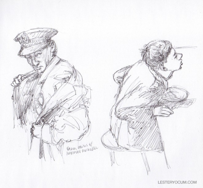 Sketch of Policeman and Boy