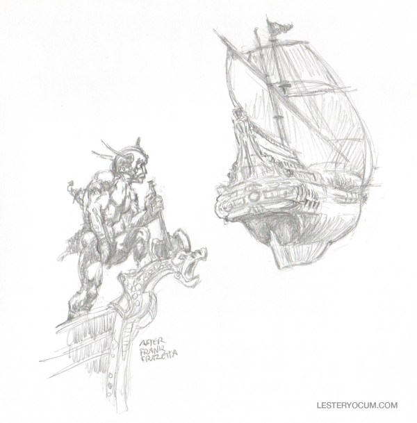 Sketches from Frank Frazetta Nautical Scenes