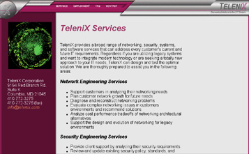 Early Telenix Webpage