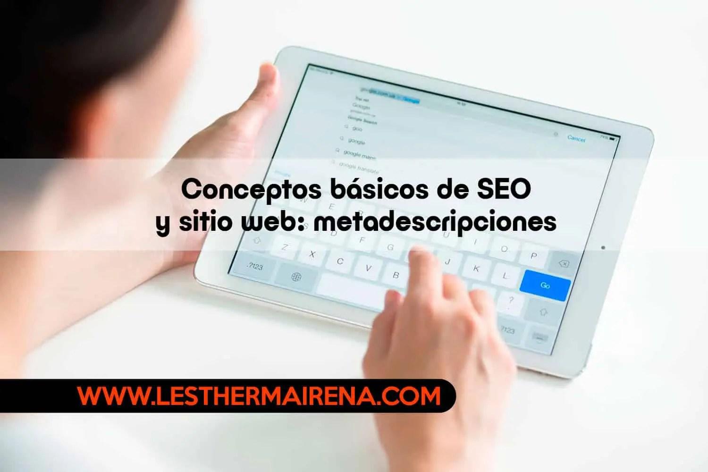 Conceptos básicos de SEO y sitio web metadescripciones