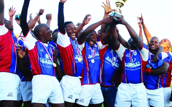 Lesotho Rugby league champions Giants lifting the inagural league championship in March this year