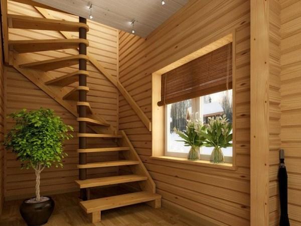 Деревянная винтовая лестница своими руками на второй этаж