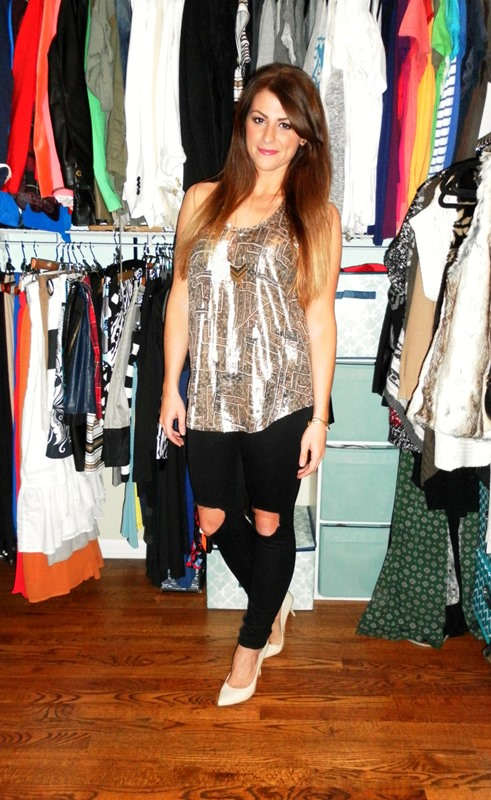 isabel marant for h&m tank, asos ridley busted knee jeans, nude pumps
