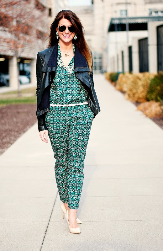jcrew printed popover, jcrew printed trousers, nude pumps, statement necklace, ashley at kansas city fashion week, veda leather jacket