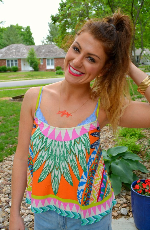 swell tank, gap boyfriend shorts, pink wedges, baublebar signature necklace, ashley from LSR