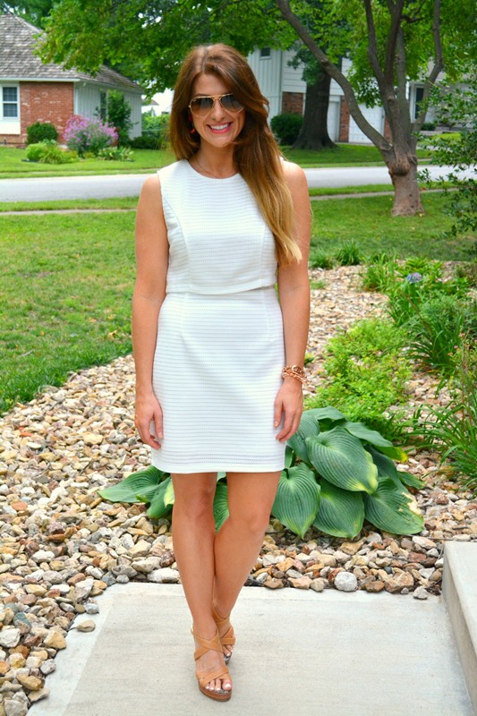 little white dress, ray ban aviators, nude sandals, ashley from lsr