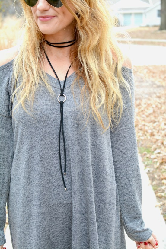 Ashley from LSR in a gray sweater dress and choker necklace