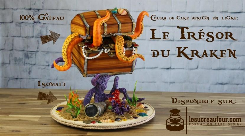cours de cake design en ligne coffre trésor 3D