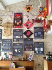 Panneaux d'exposition sur l'histoire du cerf-volant dans différents pays