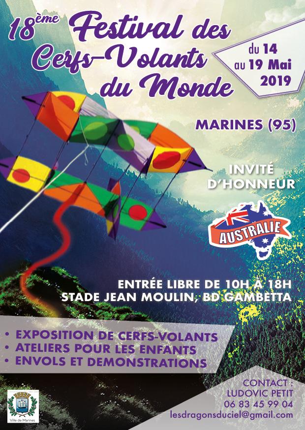 affiche festival cerfs-volants marines 2019