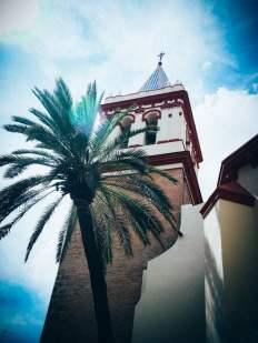 Clocher et Palmier dans le quartier de la Macarena à Séville, voyage en espagne