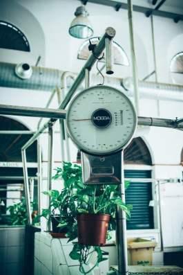 une balance et une plante verte aux halles du marché de Feria de la macarena à seville, voyage en espagne