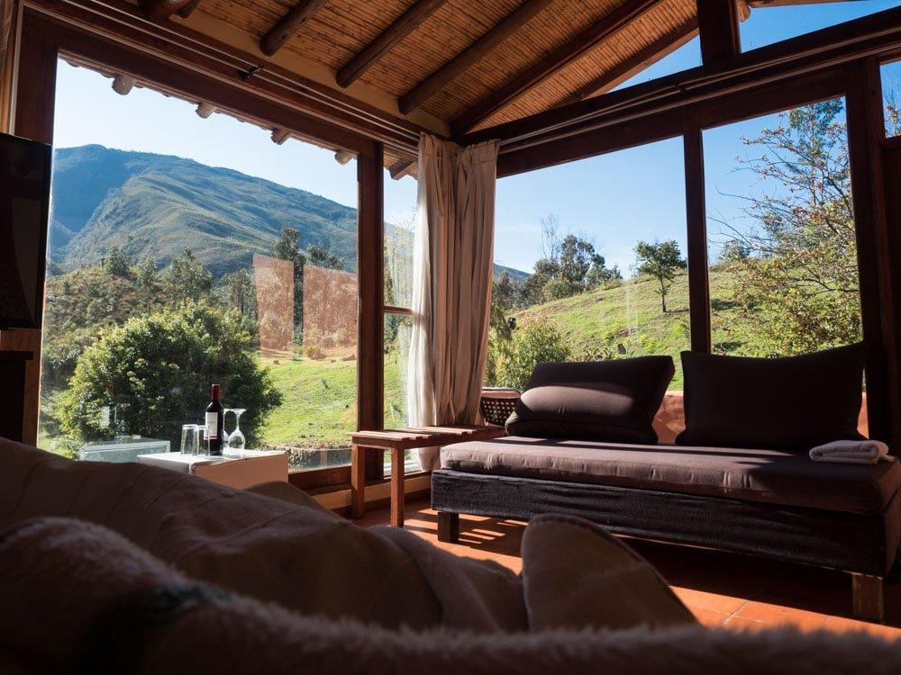 vue depuis une chambre de l'hôtel arcoiris à villa de leyva en colombie