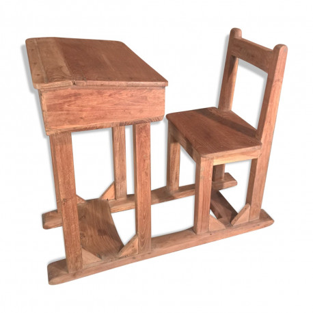 set chaise et pupitre d ecolier ancien