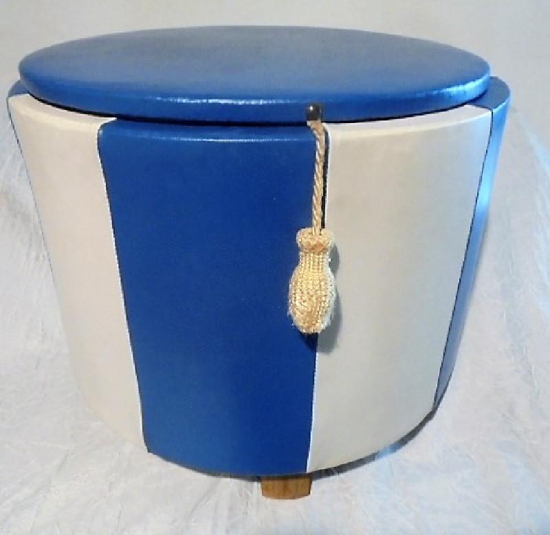 pouf coffre pur vintage bicolore