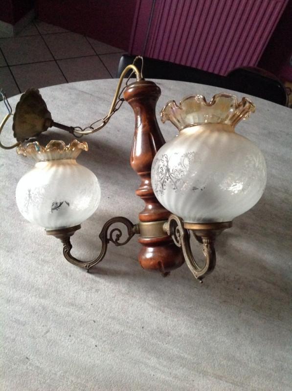 lustre rustique en bois 3 branches ancien