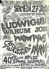"27 juin 1987 Sherwood, Les Cafards, Wampas, Warum Joe, Ludwig Von 88 à Epinay Sur Seine ""Parc Gouraud"""