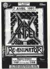 "7 avril 1991 Dark Angel, Re-Animator à Paris ""Espace Ornano"""