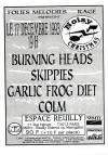 """17 décembre 1993 Colm, Garlic Frog Diet, Skippies, Burning Heads à Paris """"Espace Reuilly"""""""