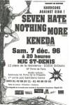 """7 décembre 1996 Keneda, Nothing More, Seven Hate à Saint Denis """"MJC"""""""