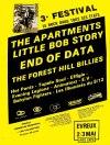 """mai 1986 Babylon Fighters, Les Illuminés du 8/12, EV, Animators, Effigie, Evening Legends, Tupelo Soul, Hot Pants, End of Data, Little Bob Story, The Forest Hill Billies, Les Valentino, The Apartments à Evreux """"Hall Expo"""""""