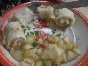 Les roulés de manioc à la cacahouète et le manioc sauté