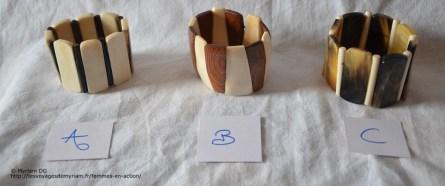 Bracelets en corne ou en os de zébu et en bois, 7€