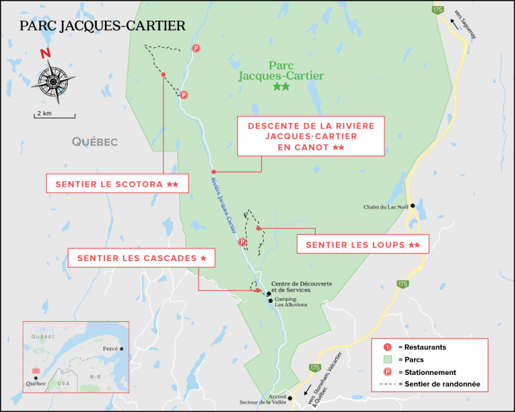 Carte du Parc National de la Jacques Cartier - Québec
