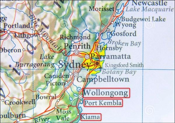 Woolongong - Port Kembla - Kiama (Australie)